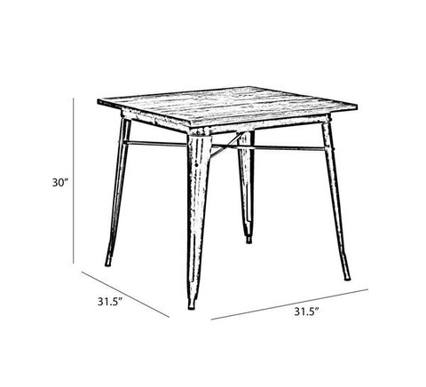 Design Lab MN -Dreux Clear Gunmetal + Elm Wood Top Steel Dining Table 30