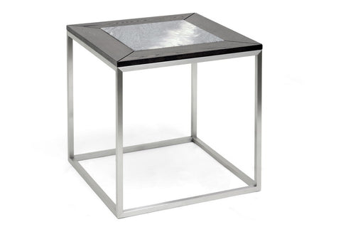 Baxton - Jezeka Brown Modern End Table with Marble Inlay