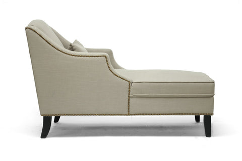 Baxton - Asteria Putty Gray Linen Modern Chaise Lounge