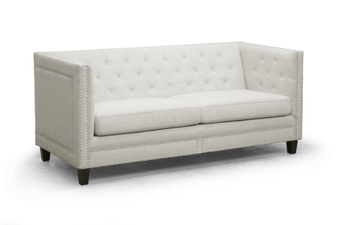 Baxton - Parkis Beige Linen Button Tufted Sofa