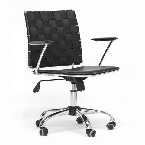 Baxton - Vittoria Black Leather Modern Office Chair