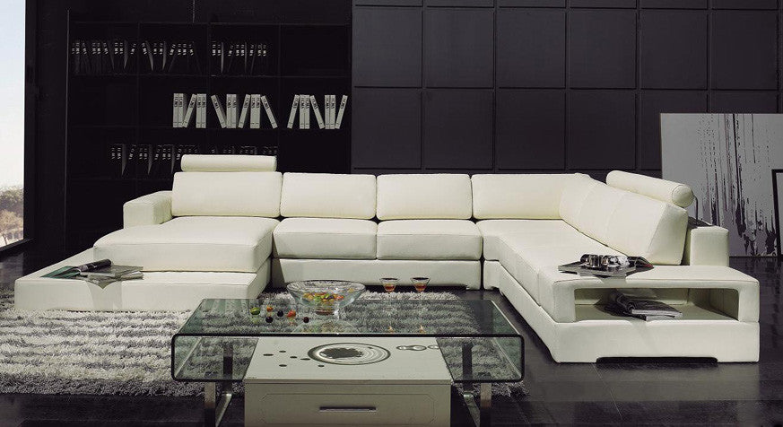 BexMod Furniture - Divani Casa T63 Modern Leather Sectional Sofa With Light
