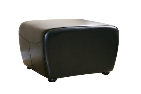 Baxton - Black Full Leather Ottoman with Rounded Sides