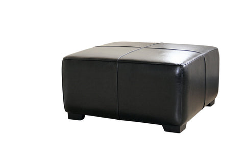 Baxton - Black Full Leather Square Ottoman Footstool