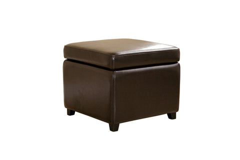 Baxton - Dark Brown Full Leather Small Storage Cube Ottoman