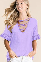 Load image into Gallery viewer, 1536- Sassy Sleeve CrissCross Top