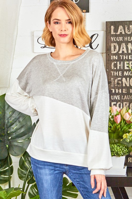 2824- Terry Colorblock Pullover