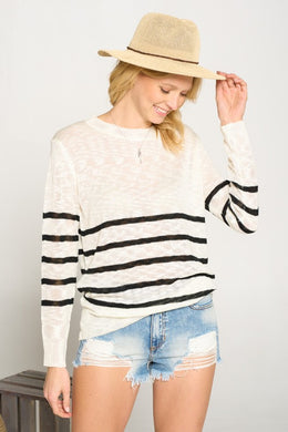 2746- Striped Sweater with Band