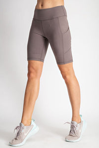 2818- High Rise Butter Biker Shorts with side pocket