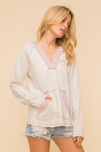 2695- Stripe Color Block Pocket Hoodie