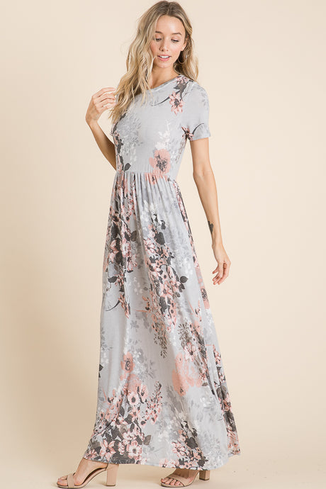 1404- Light Grey Maxi Dress