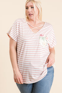 1405- Ivory and Pink Stripe PS