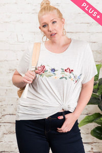 379- Heather Embroidered Tee