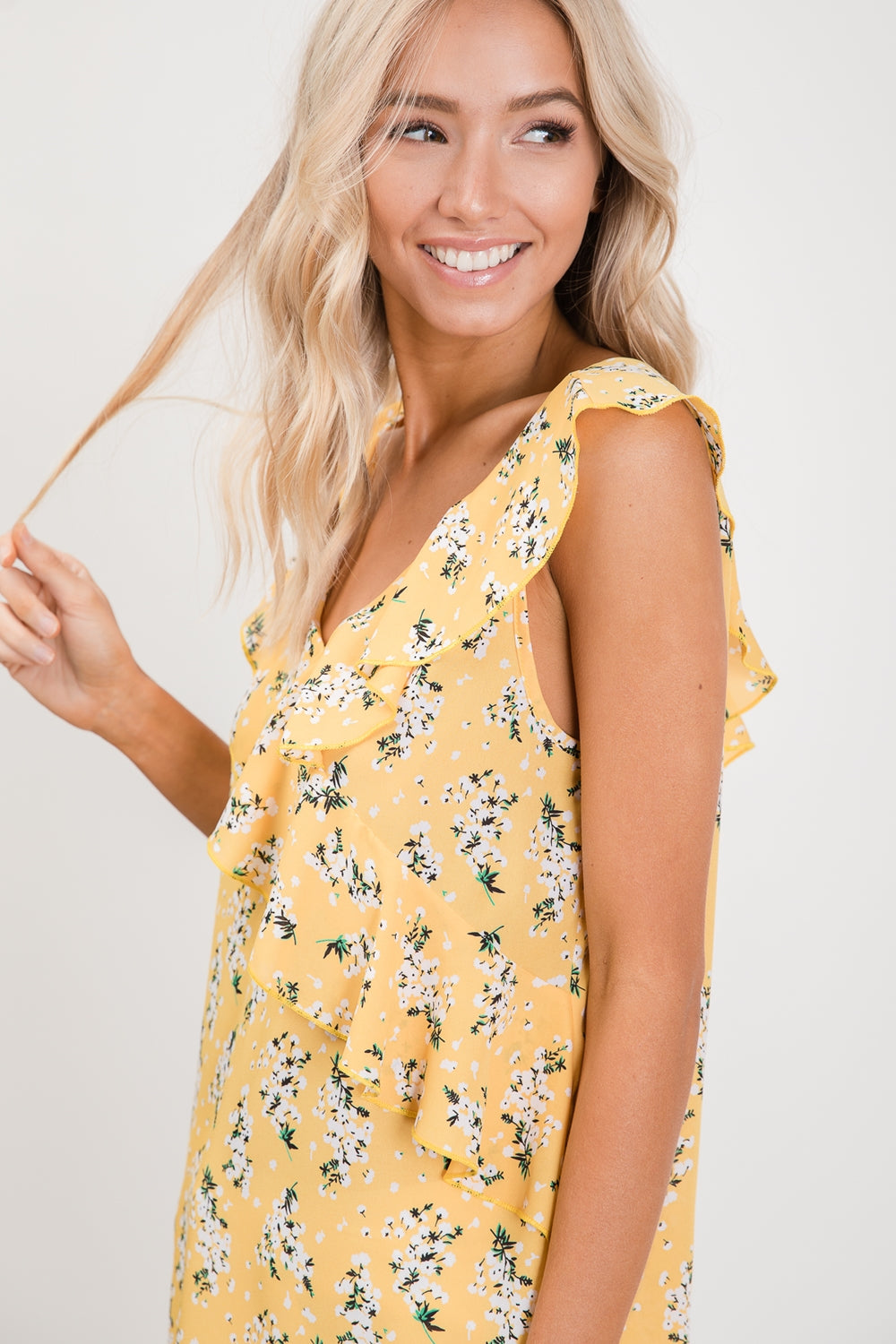 422- Yellow Floral Tank