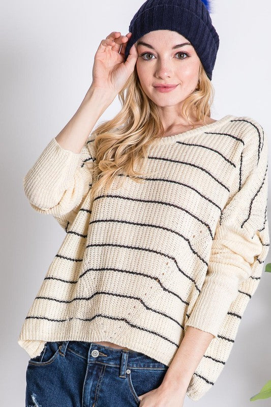 550- Cream stripe oversize sweater