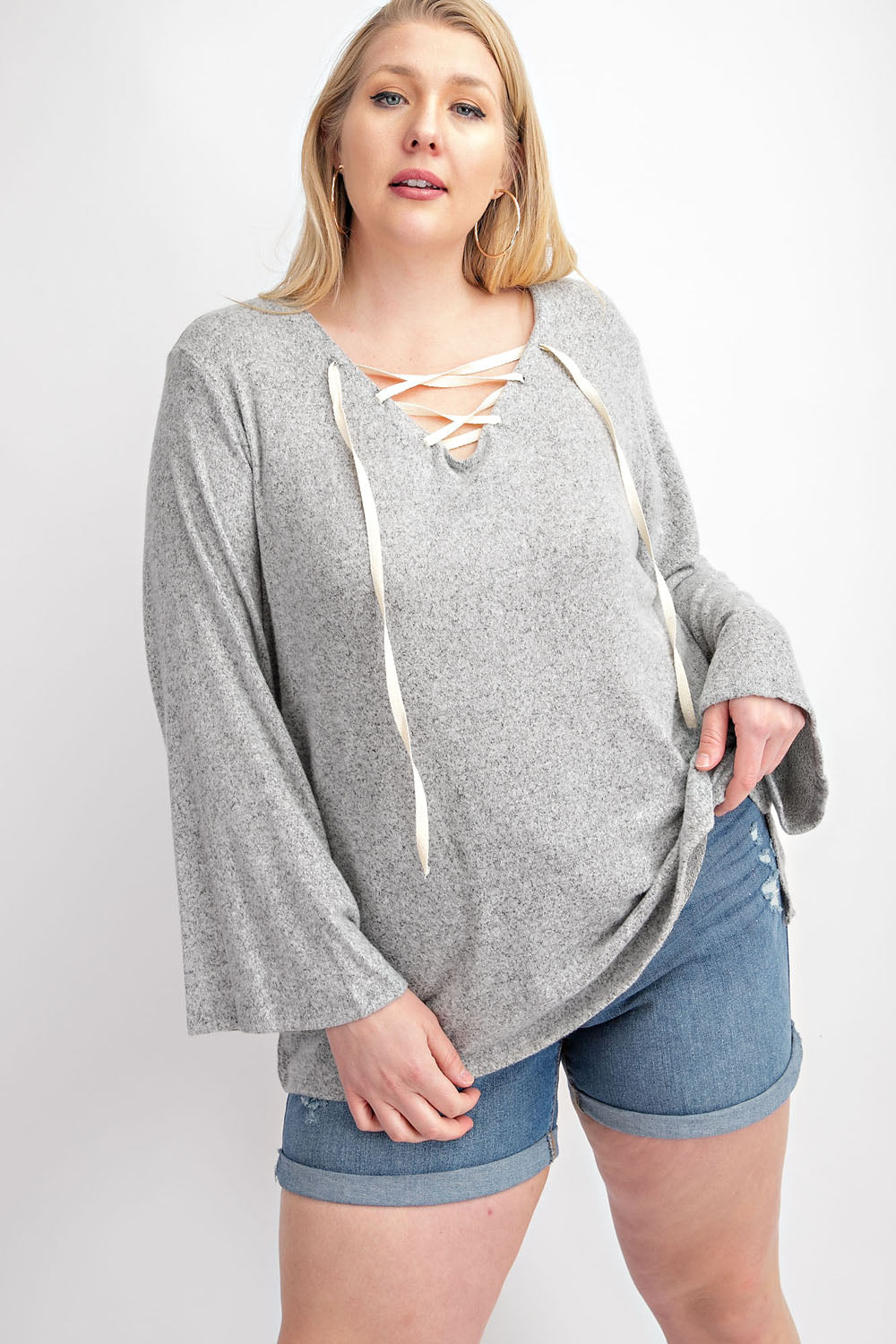 367- Lace Up Soft Sweatshirt