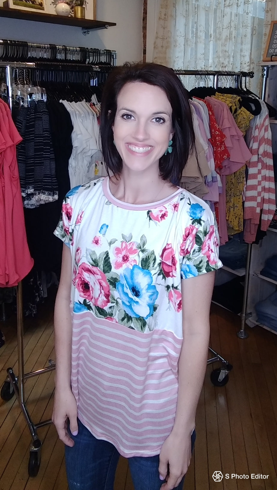 1548- Stripe and Floral Tshirt