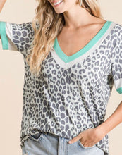 Load image into Gallery viewer, 1759 - Leopard Mint Detail Top