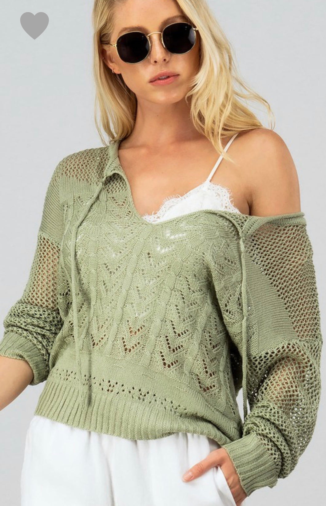 1450 - Crochet Knit Hooded Top