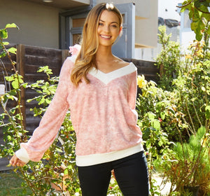 956 - VNeck Tie Dye Long Sleeve