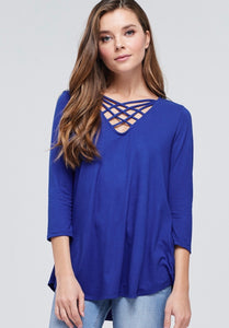 963 - Vneck Criss Cross Top