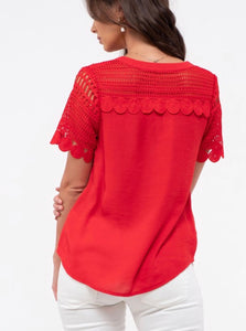 1658 - Ruby Red Crochet Sleeve Top