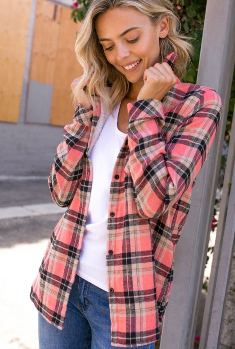 2438 - Pink Lady Fleece Lined Flannel Top