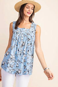 1417 - Dusty Blue Floral Tank