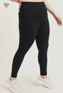 1308 - PLUS Solid Black Workout Leggings