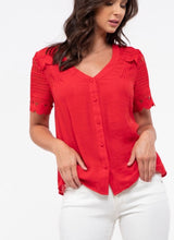 Load image into Gallery viewer, 1658 - Ruby Red Crochet Sleeve Top