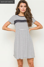 Load image into Gallery viewer, 1236 - Navy Stripe & Lace Dress