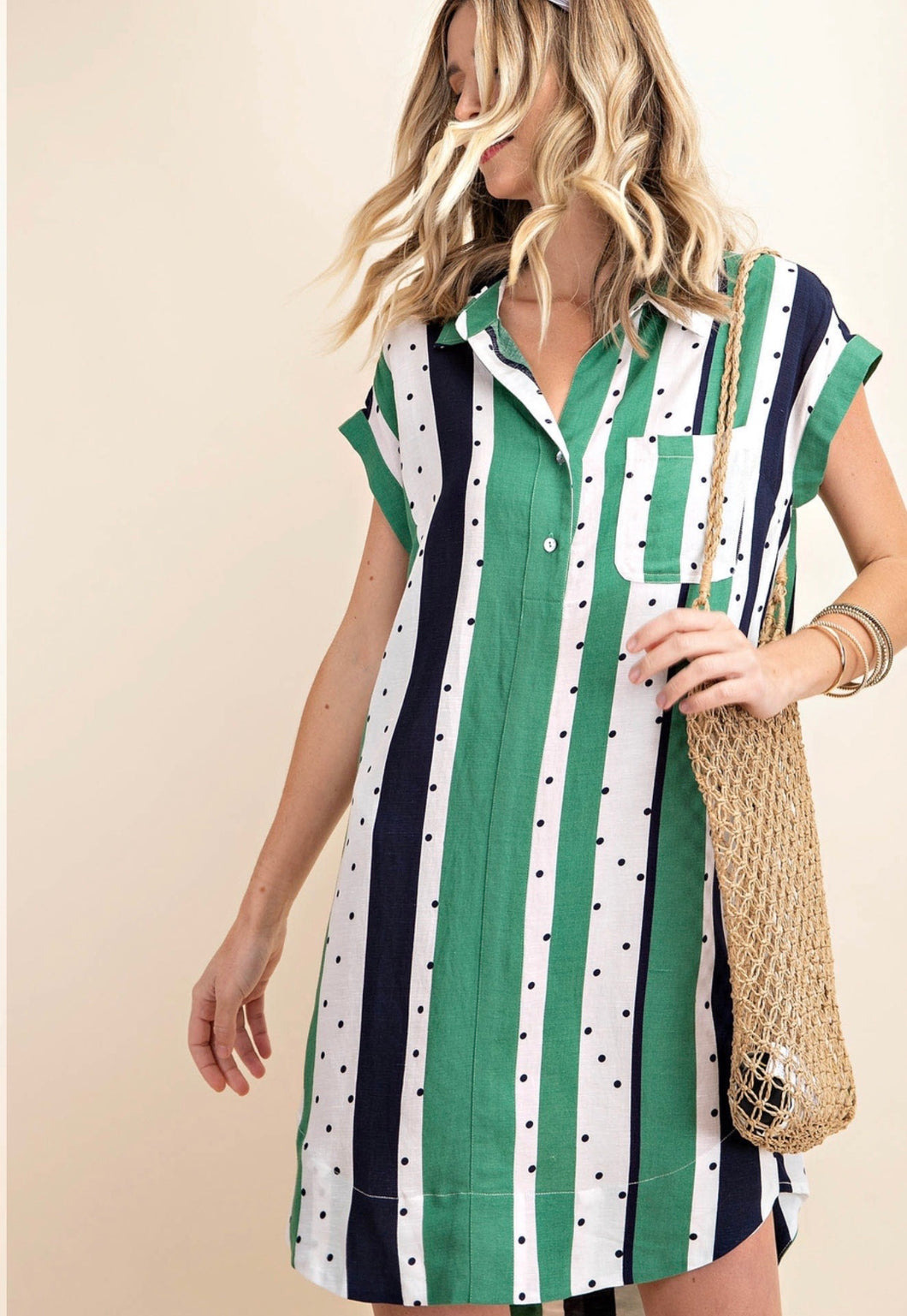 1415 - Vertical Stripe Shirt Dress