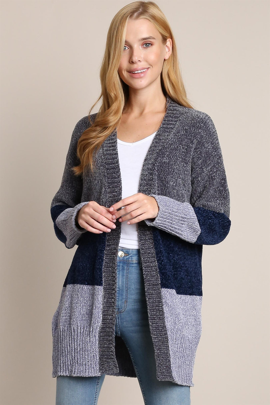 2189 - Chunky Knit Colorblock Cardigan