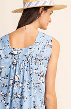 Load image into Gallery viewer, 1417 - Dusty Blue Floral Tank