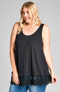 1391 - PLUS Black Lace Trim Tank
