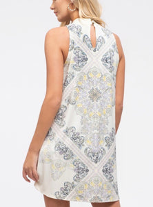 1670 - Sleeveless Paisley Knit Dress