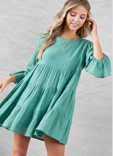 932 - Tiered Teal Dress