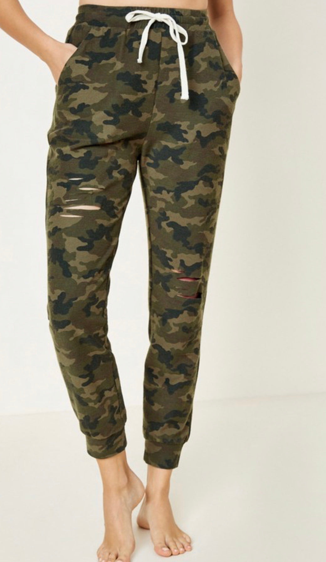 1614 - Distress Camo Terry French Joggers