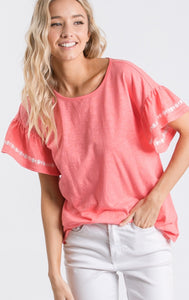 1429 - Coral Embroidered Sleeve Top