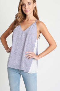 1749 - Color Block Side Pleated Top