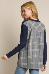 2173 - Plaid Contrast Sweater Top