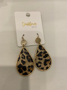 Leopard Teardrop with Gold detail earrings