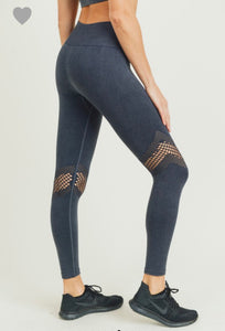 1318 - Dusty Blue Acid Wash Legging