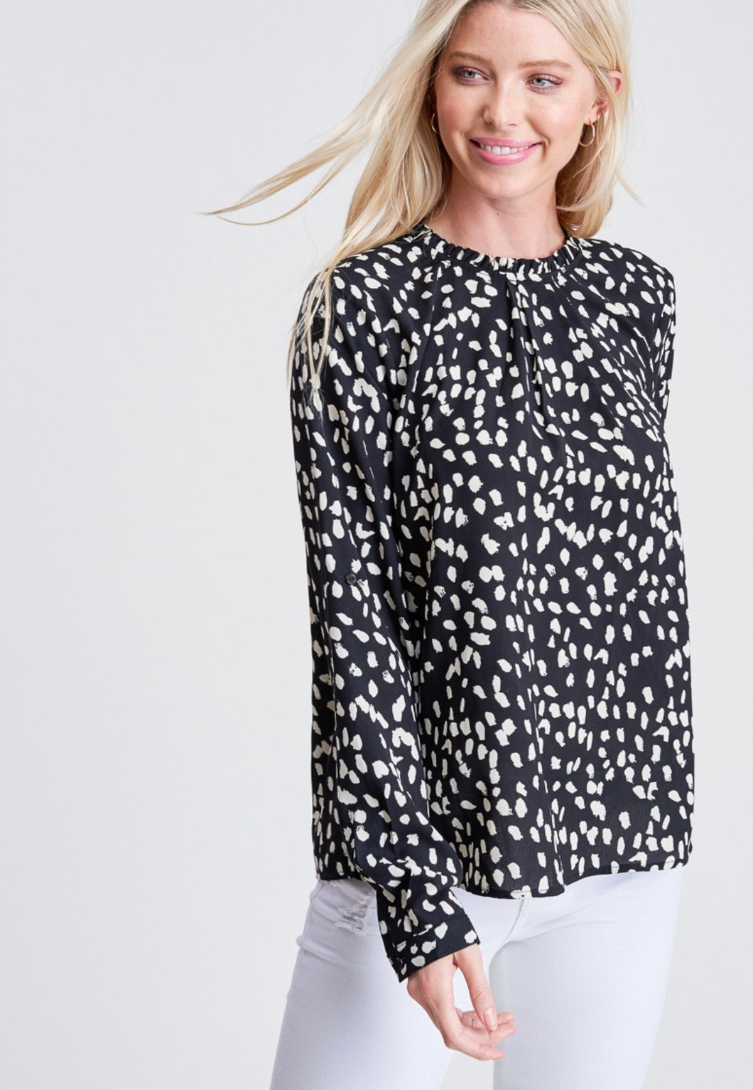 954 - Black Spotted Ruffled Round Neck Top