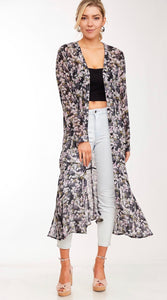 1079 - Floral Button Up Maxi Cardigan