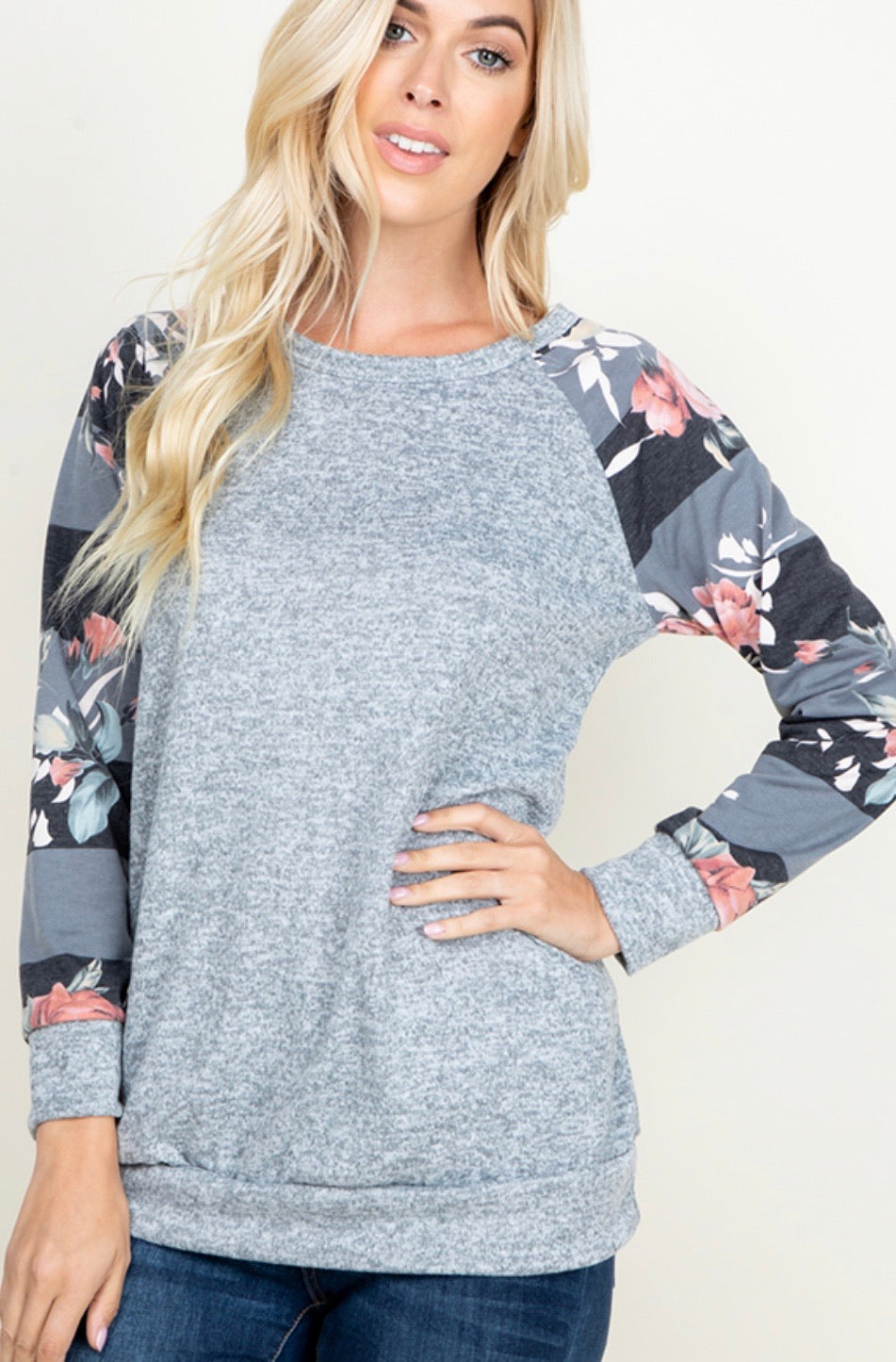 927 - PLUS Floral & Stripe Sleeve Sweatshirt