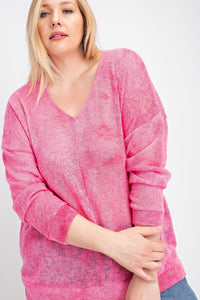 1157 - PLUS Pink Lightweight Sweater