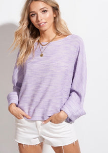 929 - Lavender Button Back Sweater