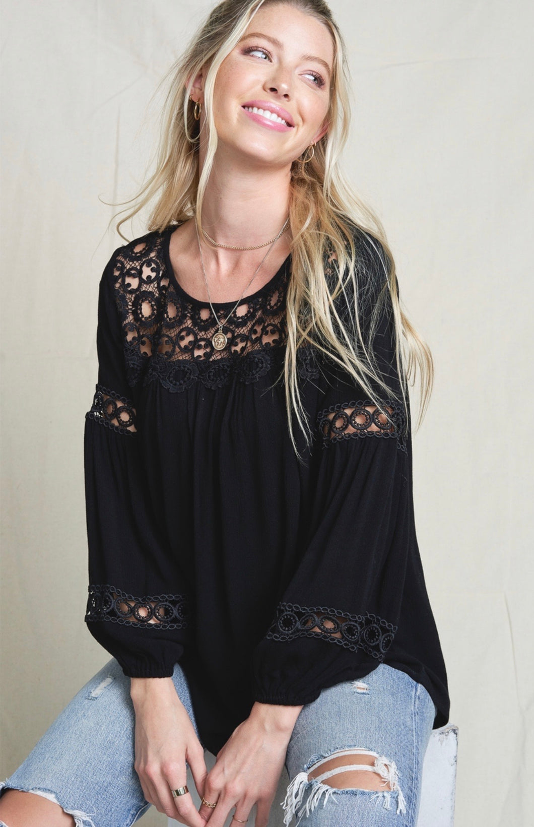 996 - Embroidered Black Blouse