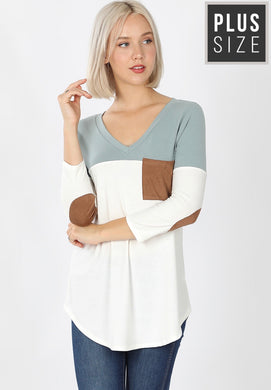 1360 - PLUS Suede Elbow Patch Vneck Top